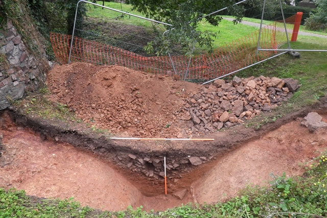 archaeological trench made across a civil war ditch on brandon hill in bristol