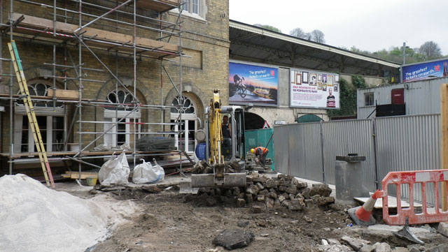 removal of granite-cobbled surface at bath railway station