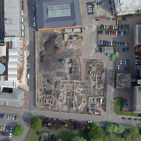 aerial view of the portwall lane excavation
