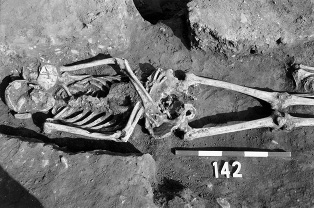 excavation of a skeleton at st james's priory