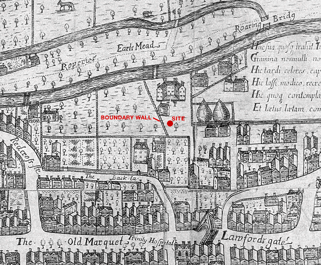 site of the boundary wall of seven ways public house shown on millerd's map of bristol