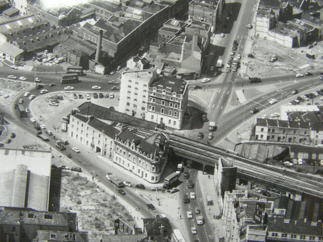 ariel view of the railway viaduct by the in bristol