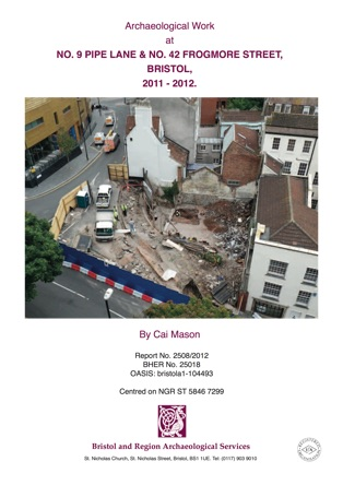 cover of an archaeological report on pipe lane, bristol