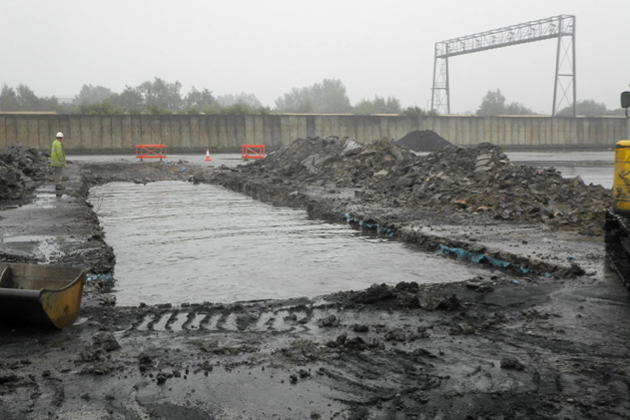 flooded trench at avonmouth docks