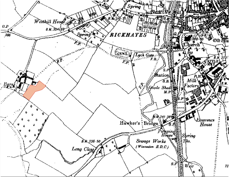 Extract from 1931 Edition Ordnance Survey showing the location of New Barns Farm at Wincanton in Somerset