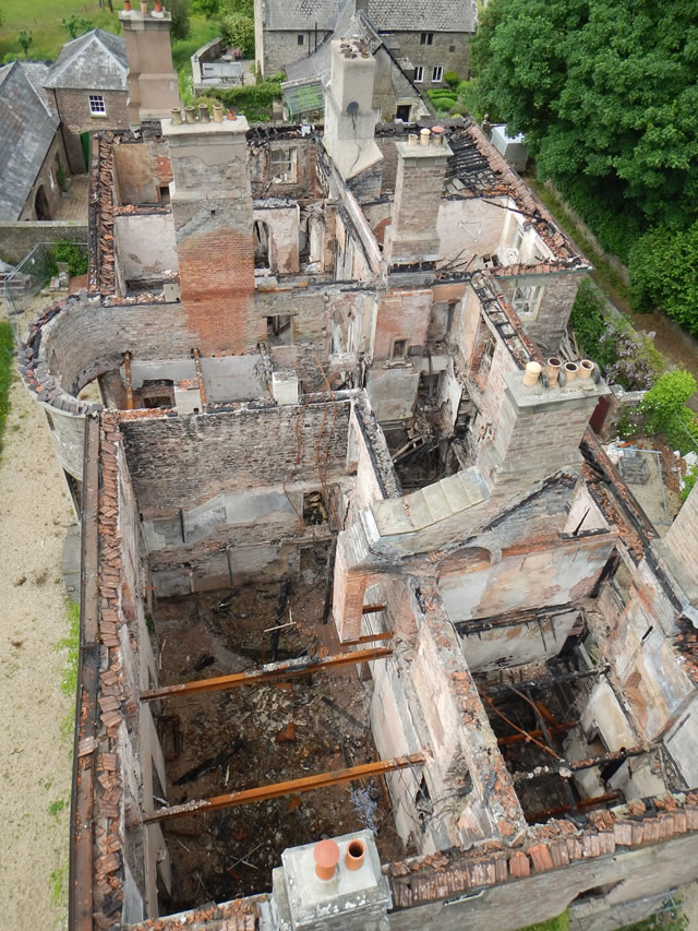 Overhead view of Newland House recorded from the safety of a cage lifted by a crane