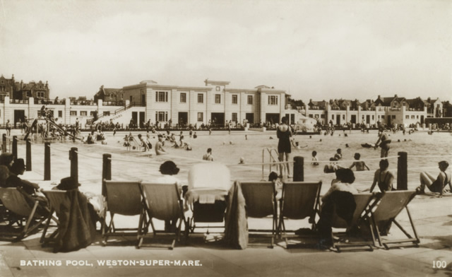 rear of the entrance building of the tropicana lido at weston-super-mare