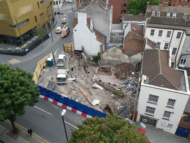 site of 9 pipe lane viewed from above